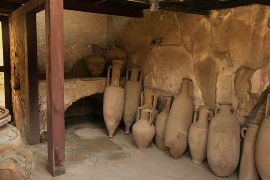 Amphorae in Herculaneum in Ancient Rome